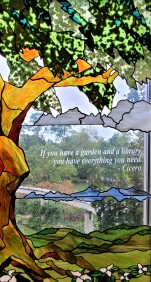 Westfield - Patterson Library - stained glass window with Cicero quote